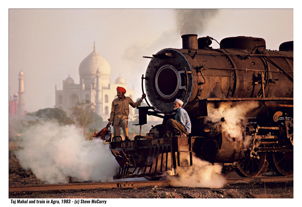 taji-mahal-and-train-in-agra-steve-mccurry